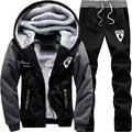 Winter Thick Warm Sweatshirt Men Set Patchwork Casual Thrasher Hoodies Tracksuit Mens Sweat Suit Zipper For Men Sudaderas Hombre