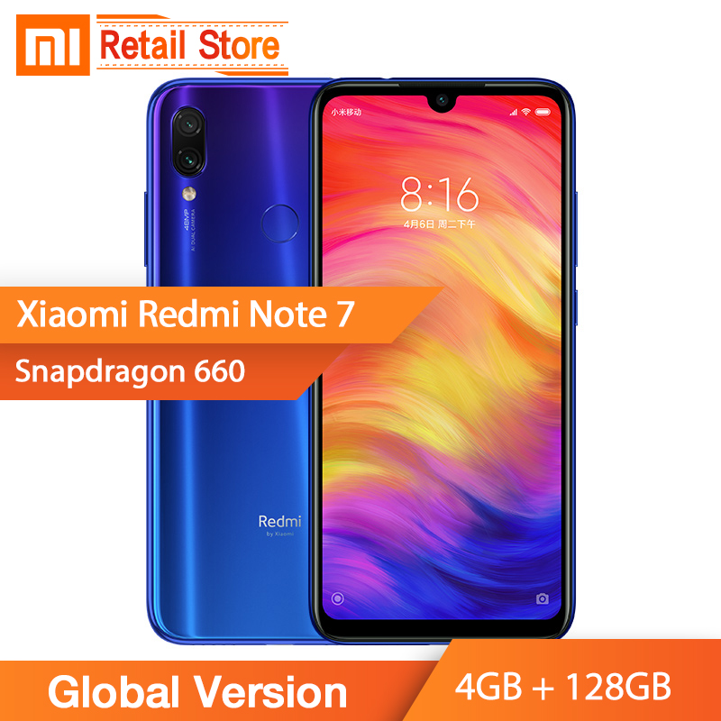 In Stock Global Version Xiaomi Redmi Note 7 4GB 128GB Smartphone 48MP Cameras Snapdragon 660 Octa