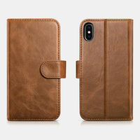 ICARER Luxury Genuine Leather Detachable Card Holder Wallet Case For iPhone XS Protective Magnetic Flip Back Cover For iPhone X