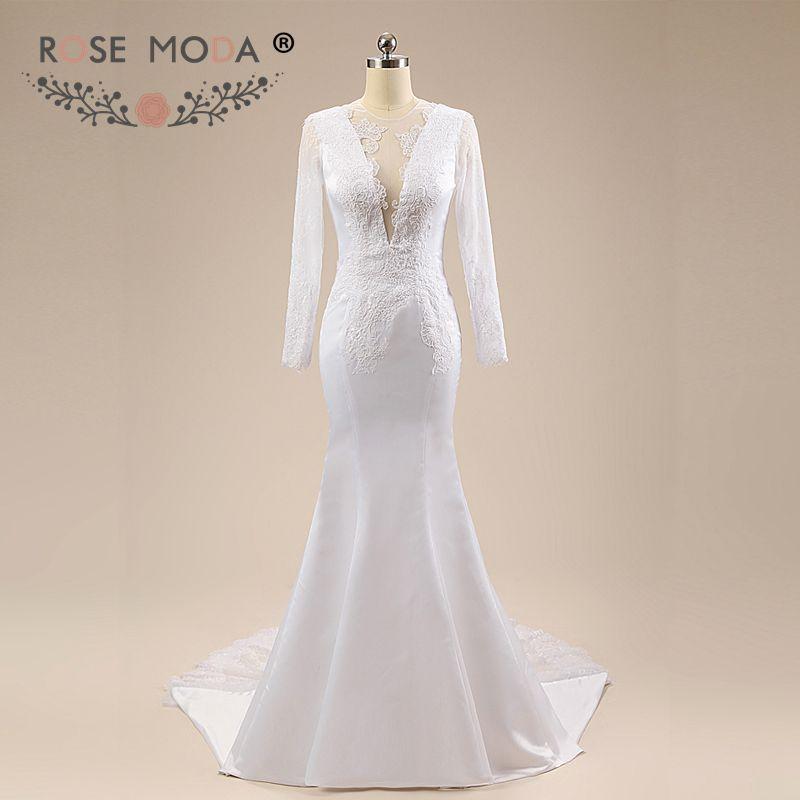 Rose Moda Long Sleeves Mermaid Wedding Dress Lace Boho Wedding Dresses 2019 Backless Real Photos