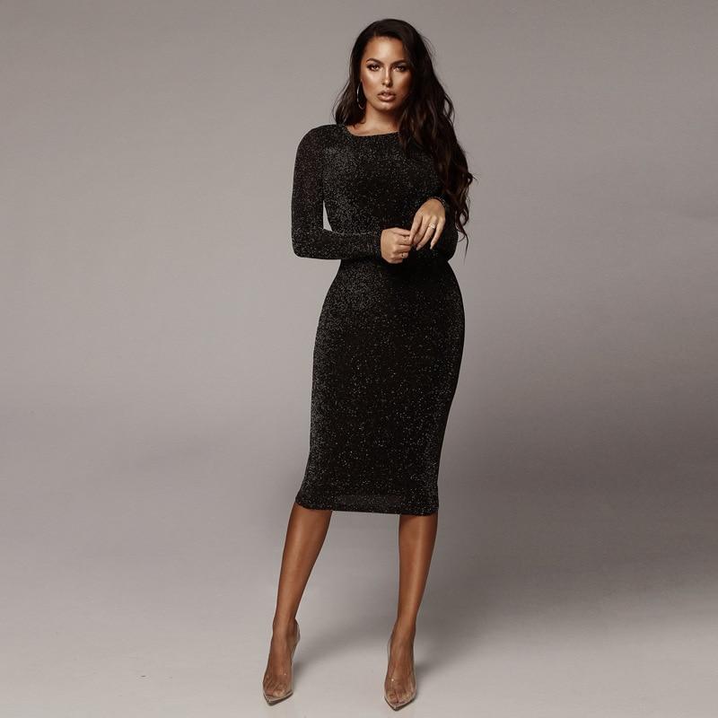 Sparkly Long Sleeve Bodycon Women Spring Autumn Dress Black O Neck Skinny Long Pencil Dress Casual Women Christmas Dress