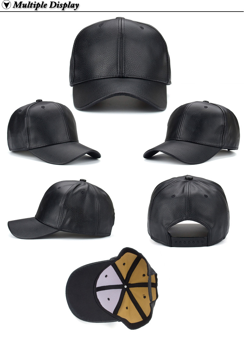 a681ca4a532 AKIZON 2019 NEW PU Leather Baseball Cap Hip Hop caps gorras Snapback ...
