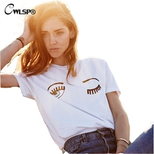 CWLSP Fashion White 2017 Summer Women T-Shirts Chiara Ferragni Big Eyes Printed Loose T Shirts For Woman Casual Tee Tops QZ1170