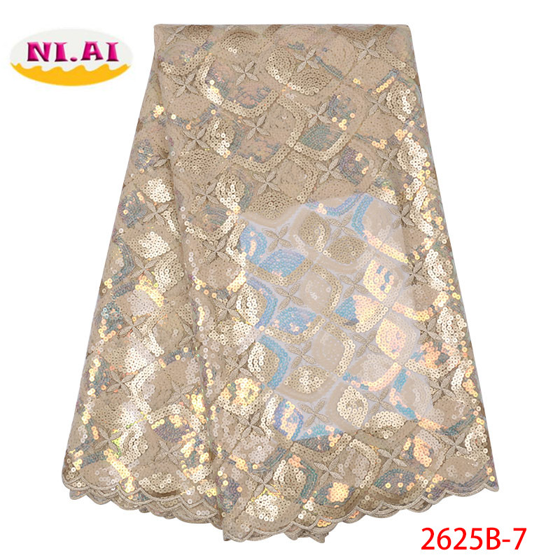 Free shipping New Arrival High Quality African Organza Lace Fabric 2019 Nigerian French Sequins Lace Fabric For Dress XY2625B-5