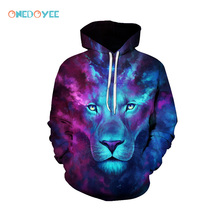 ONEDOYEE Mens Hooded Sports Sweater 3D Lion Print Men Hoodies with Hat Galaxy Print for Autumn Winter Thin 3d Spots Sweatshirts