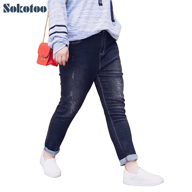 5d7f0ad1566274 Sokotoo Women's plus size black ripped skinny jeans Big size patch  distressed stretch denim pants