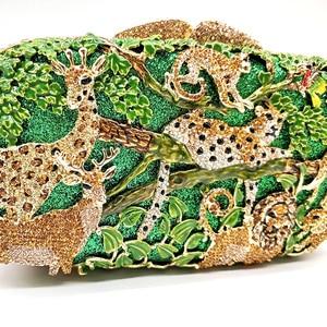Image 2 - Porte monnaie en cristal pour femmes pour fête de mariage, sac de soirée de luxe, diamants, mode animal de la jungle, pochette en cristal