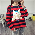 Fashion Autumn Kawaii Casual Students' Shirts Lapel Long Sleeve Loose Cat Embroidery Printing Sweet Cute Women's Stripe T-shirt