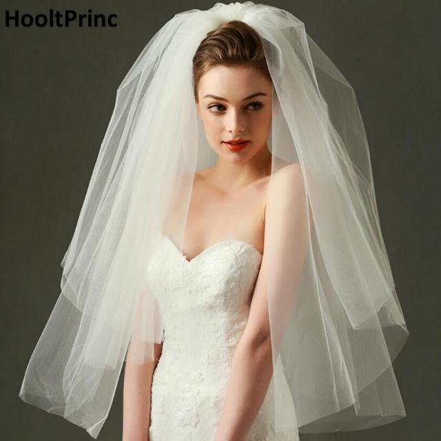 Europe Style Princess Bridal Veil 2017 Puffy Simple Beige White Cut Edge Two Layer Wedding