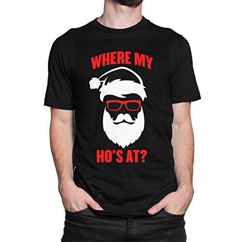 Santa Claus Where My Hos At ? Christmas Mens Print Haus T-Shirt Youth Round Collar Customized T-Shirts