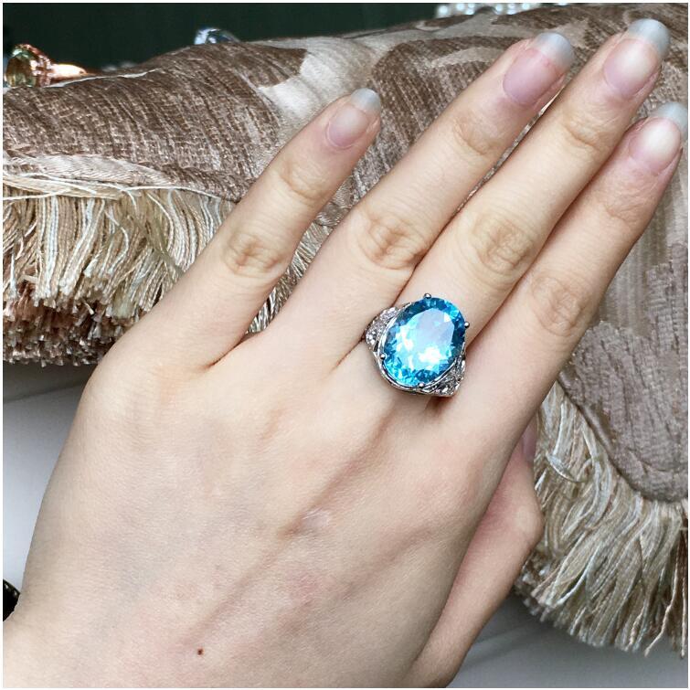 Topaz ring Finger ring Natural real blue topaz 925 sterling silver ring Wholesales For men or women Gem Size 12*16mm цена