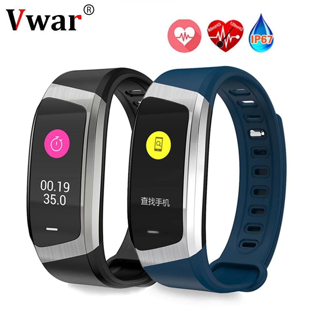 Vwar Banda Intelligente E18 Colore Fitness Tracker Orologio Pressione Sanguigna Monitor di Frequenza Cardiaca Braccialetto VS huawei banda honor A2 3 fitbits