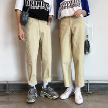 Fashion Casual Mens Straight Pants All Seasons New M-XL Cotton Solid Color Loose Khaki Personality Youth Popular