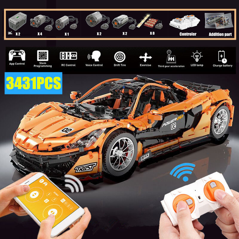 APP RC voiture de course moteur de puissance fonction fit technic MOC-16915 McLaren P1 fit 20087 briques de construction jouet enfant cadeau