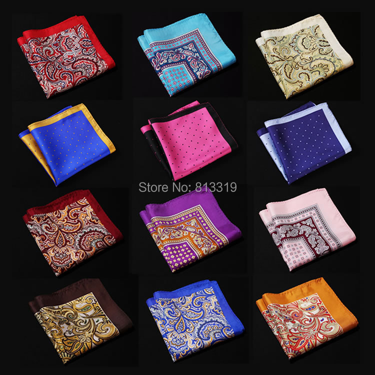 NE Polka Dot Paisley Floral Handkerchief 100% Natural Silk Satin Mens Hanky Fashion Classic Wedding Party Pocket Square