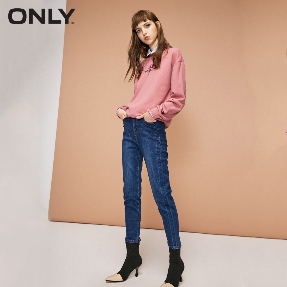 ONLY womens' winter new high waist cropped   jeans   Splicing line decoration Simple and stylish|118349652