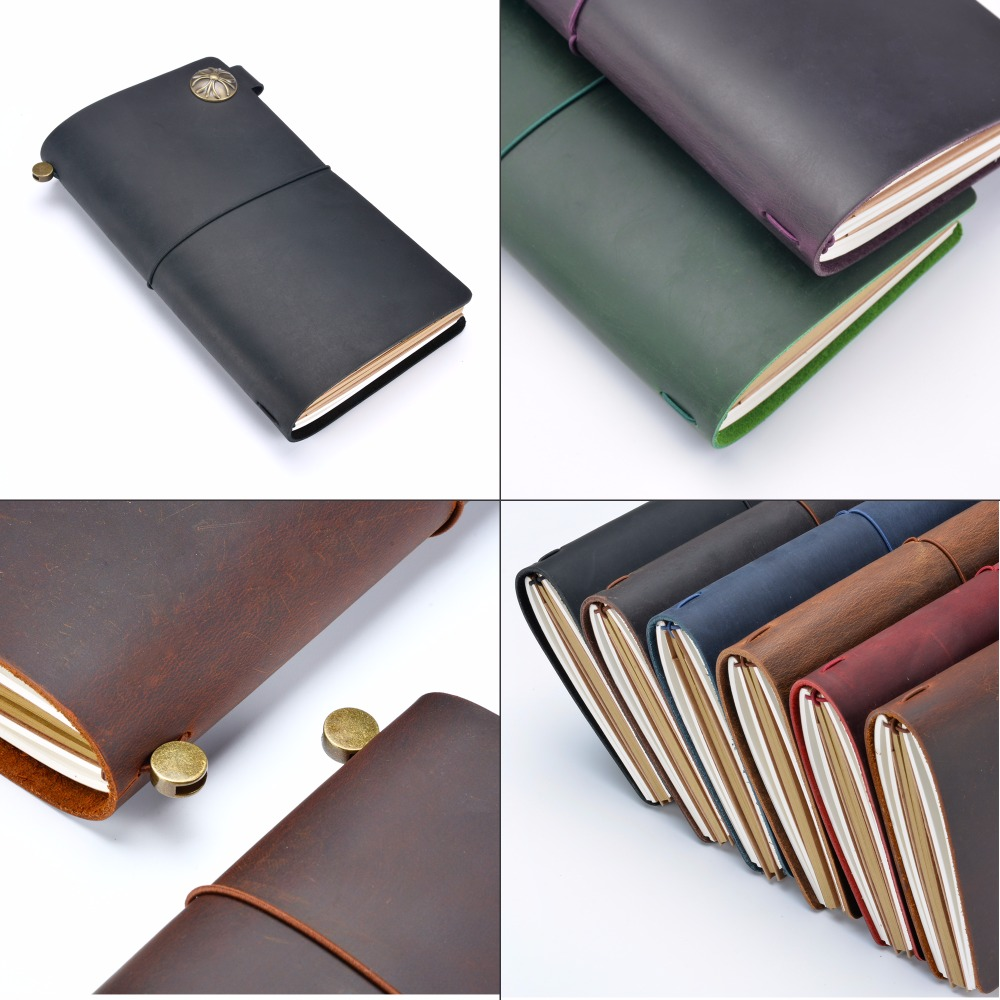 Image 5 - Moterm 100% Genuine Leather Notebook Handmade Travel Diary Journal Classic Vintage Style Sketchbook Planners Free Shipping-in Notebooks from Office & School Supplies