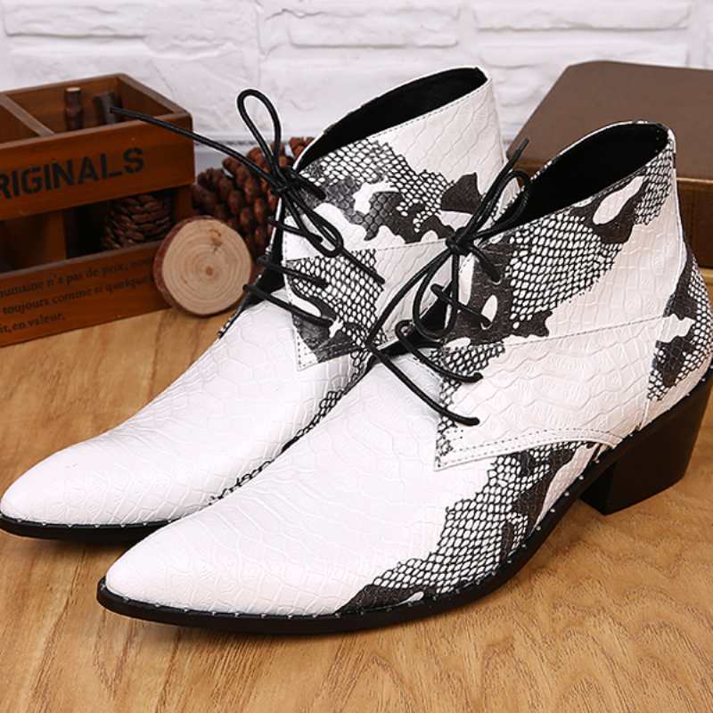 Christia Bella Men Shoes Comfortable Winter Fashion Men Ankle Boots Printing Casual Lace Up Boots White Booties Cowboy Boots
