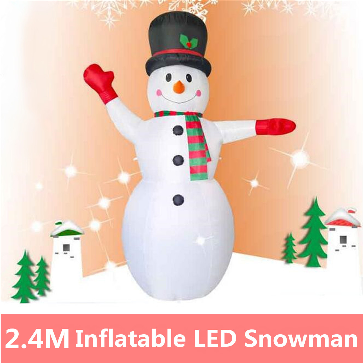 2.4M Air Blown LED Light Christmas Decor Large Inflatable Snowman Christmas Party Props Holiday Lighting Supermarket Home Decor christmas snowman pattern wall decor tapestry