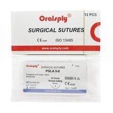 Oralsply Dental Chirurgische Hechtingen Steriele Pgla 5 0 Polyglactin 910 Violet 45 Cm Met Naalden 1/2 Cirkel Reverse Snijden 16 Mm
