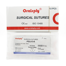 Oralsply ทันตกรรมผ่าตัดเย็บ Sterile PGLA 5 0 Polyglactin 910 สีม่วง 45 ซม.เข็ม 1/2 วงกลมย้อนกลับตัด 16 มม.