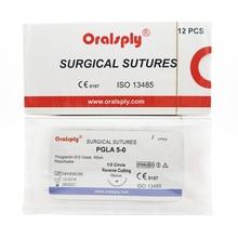 Oralsply diş cerrahi sütür steril PGLA 5 0 Polyglactin 910 menekşe 45cm İğneler ile 1/2 daire ters kesme 16mm