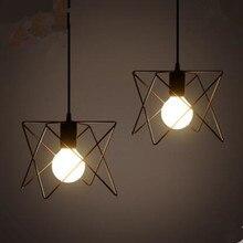 Урожай крытый освещение ретро подвесные светильники металла Т железа клетка абажур освещение висит светодиодные светильники
