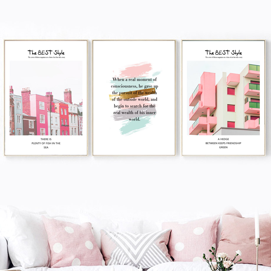 Colorful Dream Building Alarm Clock Wall Art Canvas Painting Nordic Posters And Prints Pop Art Canvas Pictures For Living Room in Painting Calligraphy from Home Garden