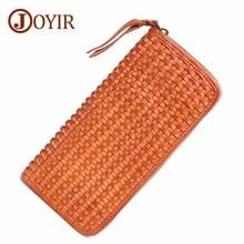 цены JOYIR Luxury Wallet Male Women Genuine Leather Clutch Long Wallet  Cell Phone Clutch Bag Handmade Zipper Long Purses Handy Bags