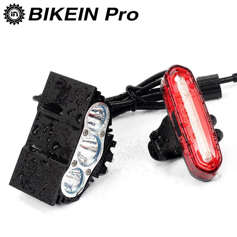 BIKEIN Vélo VTT Vélo A Mené La Lumière Avant + Arrière Lampe USB Rechargeable Guidon Lumières Avant Lanterne Route Accessoires Vélo