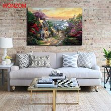 Coastal Village Canvas Painting 1pc Wonderland Poster Vintage Picture Of Abstract Painting 2017 Wall Picture For Home Decoration(China)