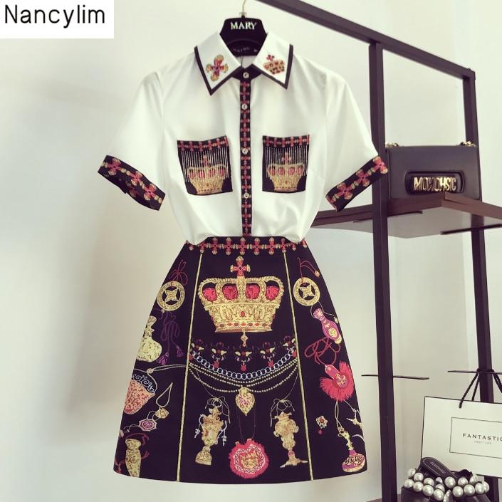 Été mode robe dame 2019 nouveau rétro imprimé gland poche chemise + Style National a-ligne jupe deux pièces costume femmes ensembles