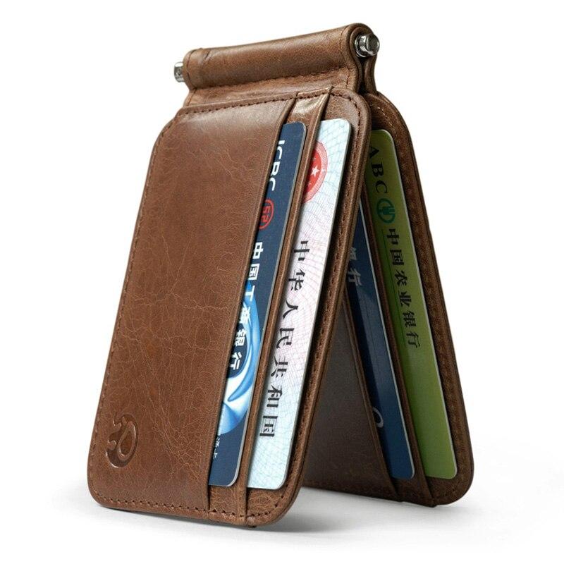 Thin Billfold Vintage Wallet Men Money Clips Genuine Leather Clamp For Money Holder Credit Card Case Cash Clip 8 Card Pocket