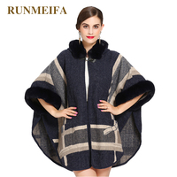2018 New design popular imitation fox fur winter scarf for women luxury brand warm Poncho scarf scarves striped shawl in stock