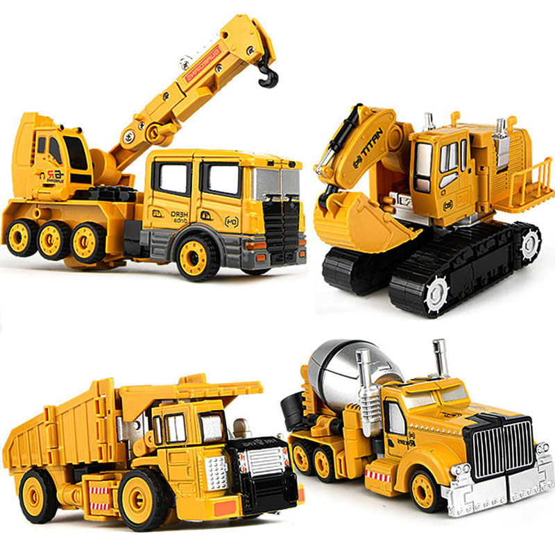 Diecasts Toy Vehicles Crane Mixer Bulldozer Transformation Robot Car Metal Alloy Vehicle Excavator Truck Model 2 In 1 Kids Toys