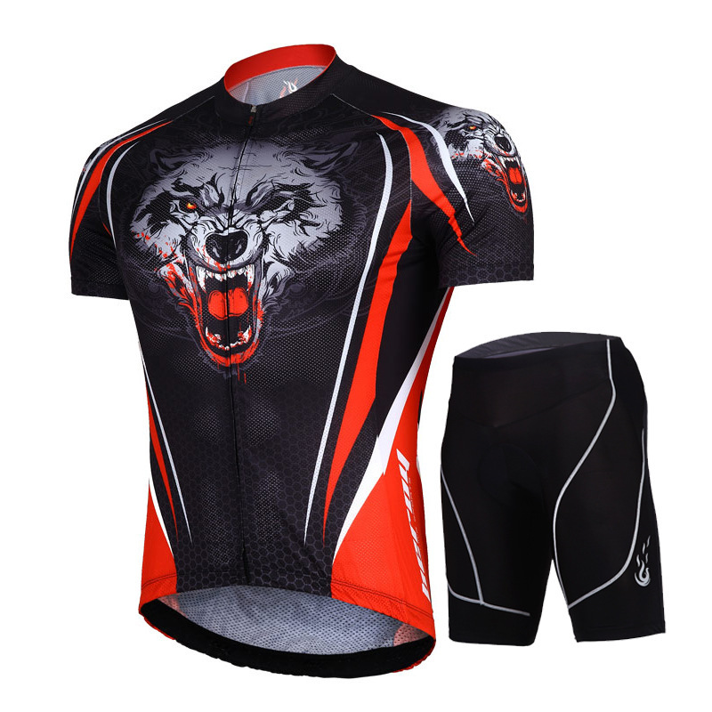 summer men Cycling Jersey sets suits Breathable racing Bicycle jerseys tiger head Mountain Bike cycling clothing set