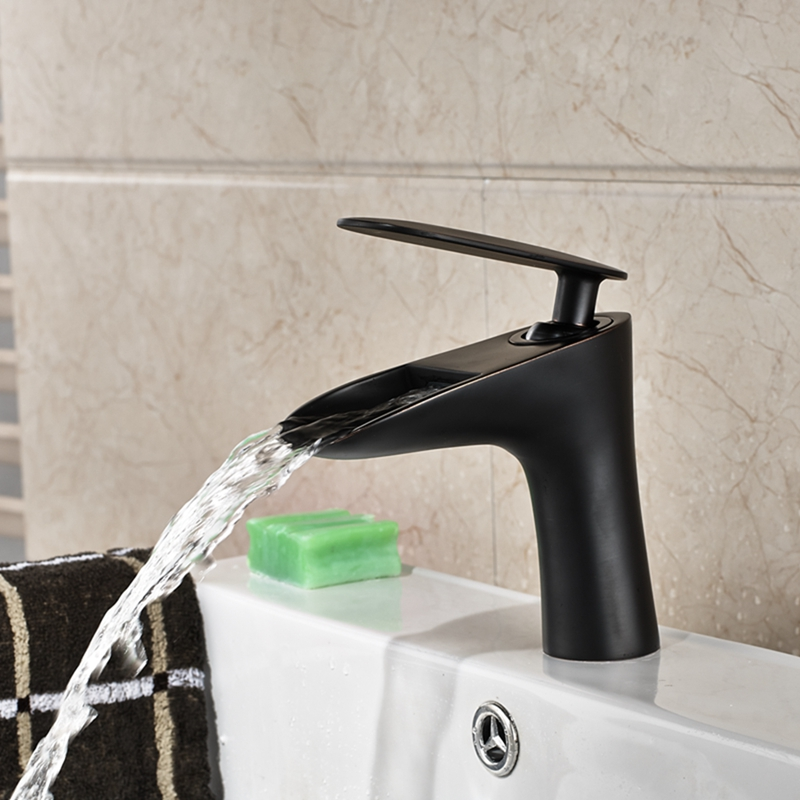 ФОТО Deck Mounted Bathroom Oil Rubbed Bronze Bathroom Basin Faucet Waterfall Spout