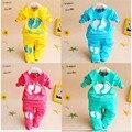 2016 Unisex Fashion baby clothing set children kids clothes sets suits 2 pcs long sleeve cotton wear little feet suit sport