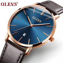 Men luxury brand quartz watches leather strap minimalist ultra-thin waterproof watch fashion wrist watch with high quality