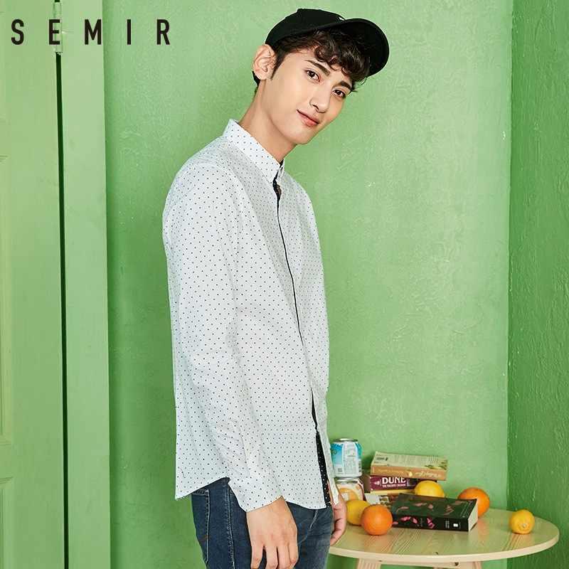 セミール長袖シャツ男性ラペルポルカドットスリムビジネスカジュアルシャツ韓国のファッションの若者プリントソフトスリム男性服