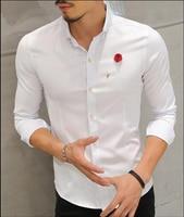 2017 Men Shirts Long Sleeve Lapel Collar Casual Night Club Fashion Clothing Oversize Fat Men Clothing