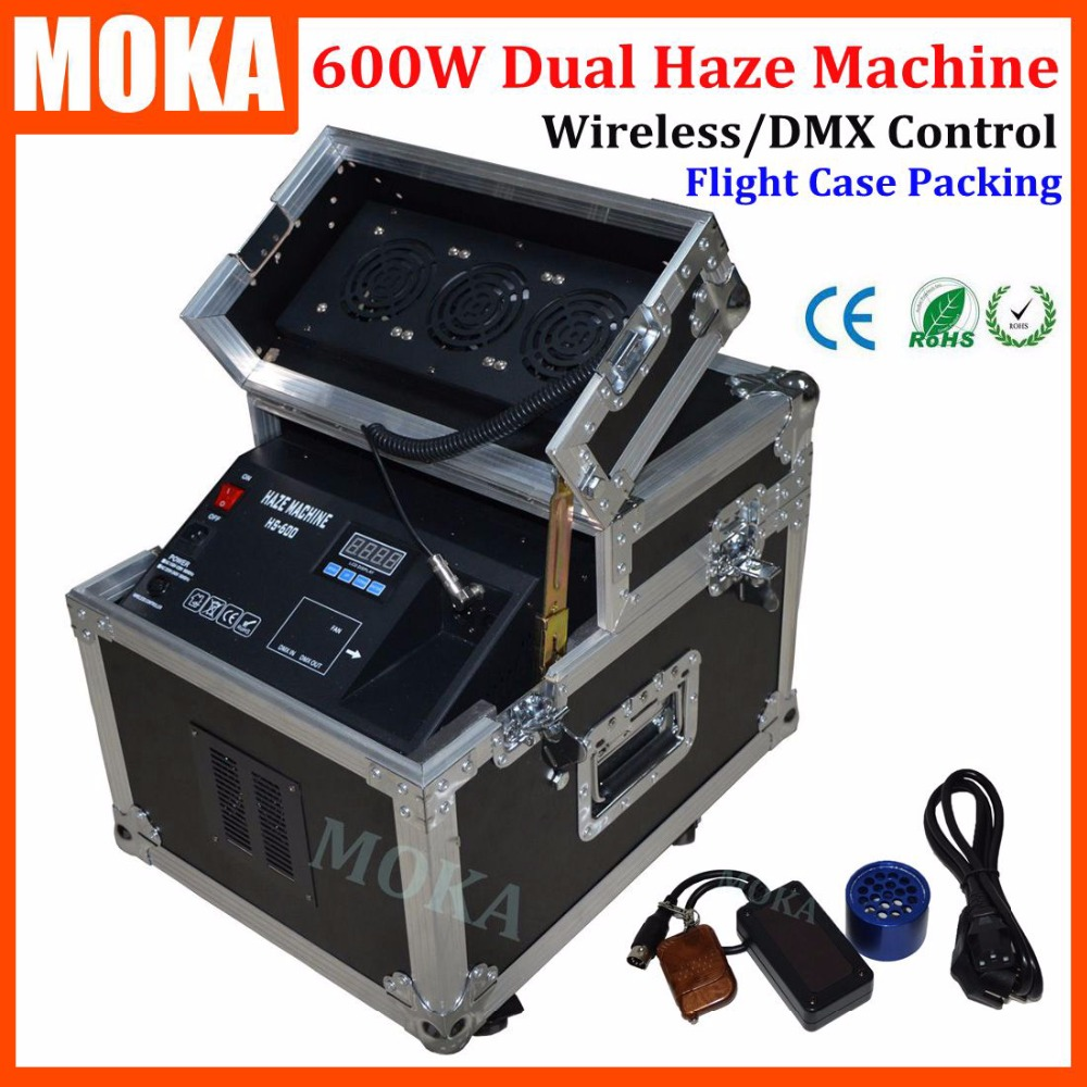 1 Pcs/lot Remote dmx fog machine 600w stage smoke machine flightcase packing dual haze machine fogger projector for wedding