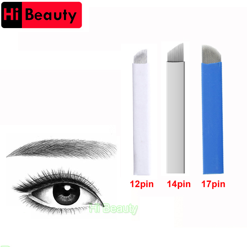 High Quality 5pcs/lot Sterilized 12/14/17 Pin Permanent Makeup Blade Manual Embroidery Eyebrow 3D Tattoo NeedleHigh Quality 5pcs/lot Sterilized 12/14/17 Pin Permanent Makeup Blade Manual Embroidery Eyebrow 3D Tattoo Needle