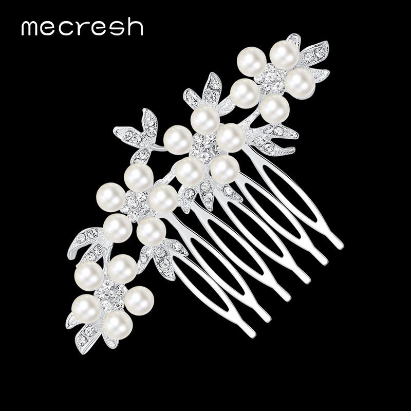 Mecresh Leaf Simulated Pearl Wedding Hair Accessories for Women Elegant Bridal Hair Combs Hairpin Jewelry Christmas Gift FS002