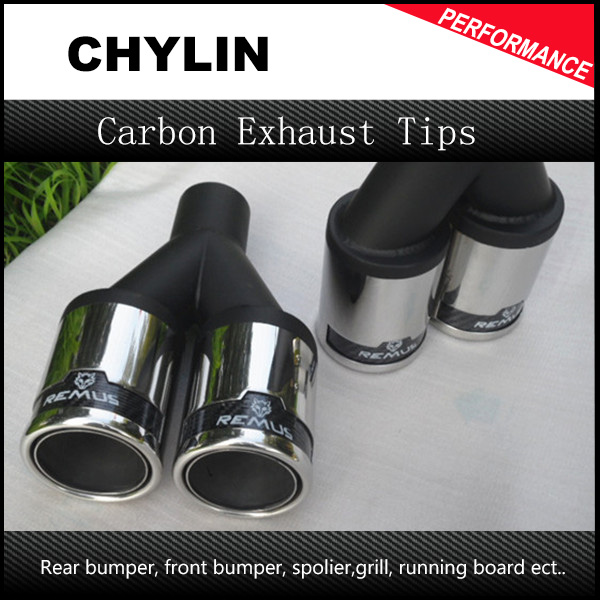 Free Shipping 1PCS inlet:54mm outlet:76mm Car Styling Remus Dry Exhaust Tip Universal Car Muffler Tips 2pcs 54mm inlet 76mm outlet remus universal stainless steel car rear blue exhaust pipe tail muffler tip for car muffler exhaust