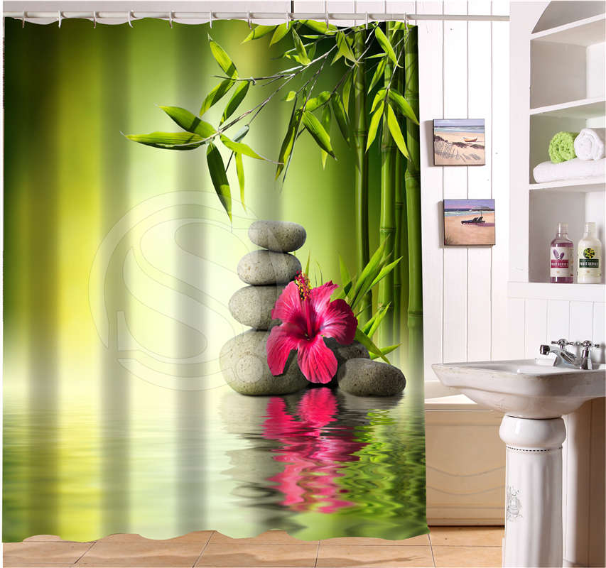 WJY504K4 Custom Spa zen stones flowers bamboo flowers Fabric Modern Shower Curtain bathroom Waterproof FY4