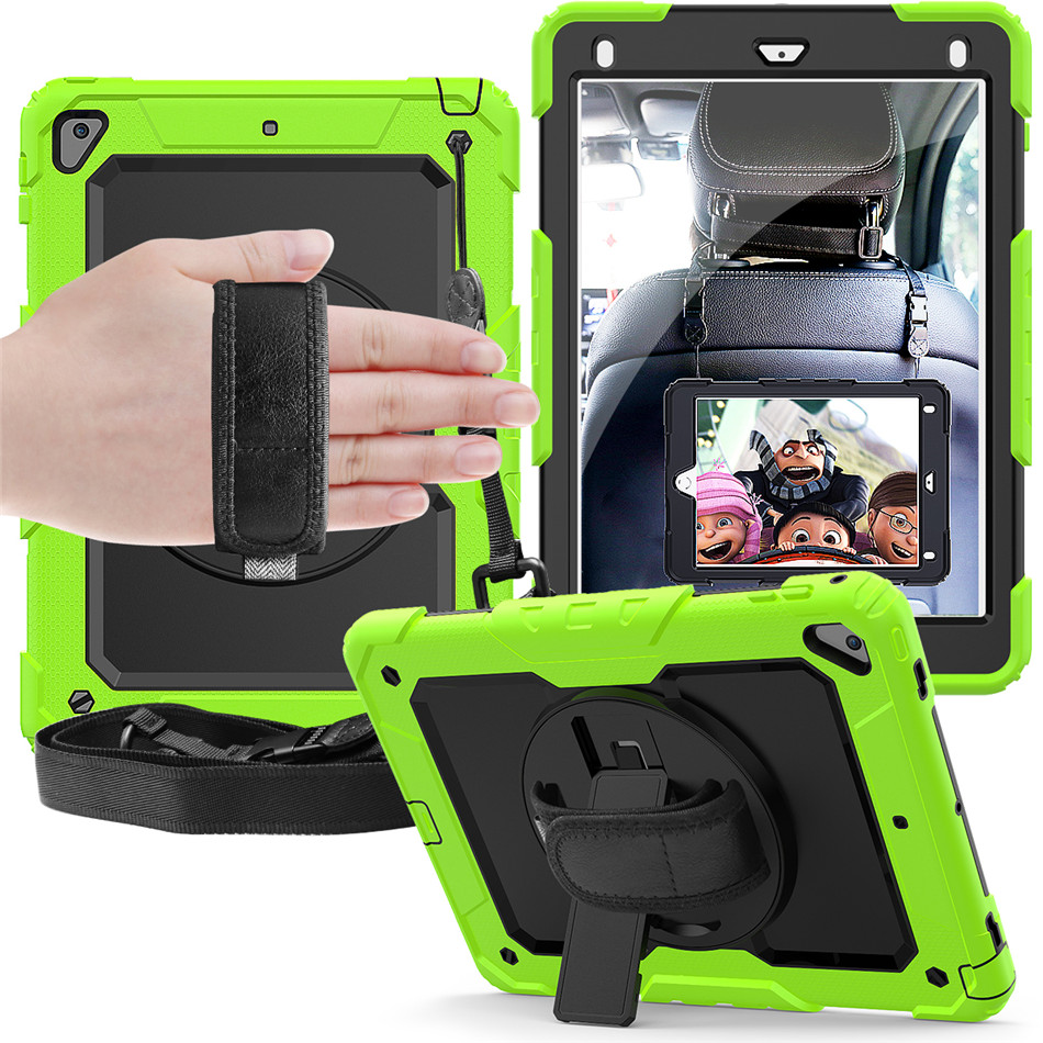For ipad pro 9.7 Case with 360 Degree Rotatable with Kickstand +Pencil Holder +Hand Strap Cover for iPad 9.7 2018 6th generation