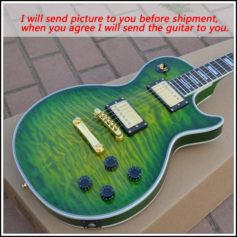 New Brand green Quilted Iguana Burst color guitar instruments font b musical b font electric guitar