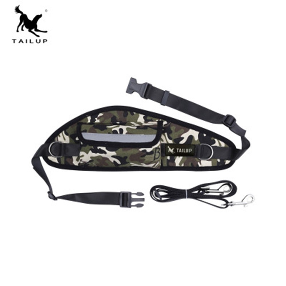 TAILUP Dog Harness Walking sport Running Pocket for pet bag Adjustable Hands free Leash Waist Belt pet Dog traction dropshipping