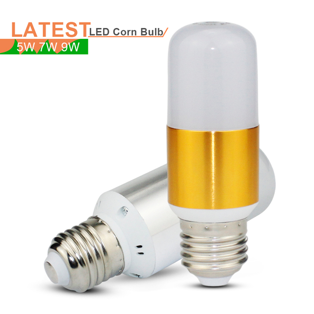 E27 LED Bulb Lamp SMD 2835 Bombillas LED Corn Light 5W 7W 9W Ampoule LED Candle Light For Home Decoration Gold/Silver AC85-265V
